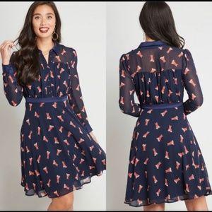 ModCloth Long Sleeve Chiffon Shirt Dress Foxes